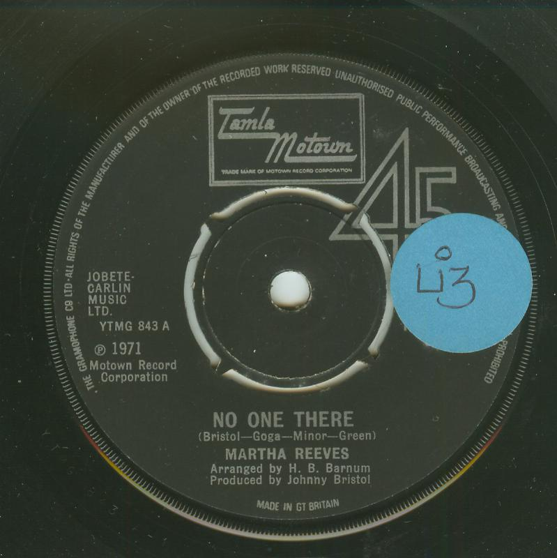 Martha Reeves - No One There / I've Given You The Best Years Of My Life